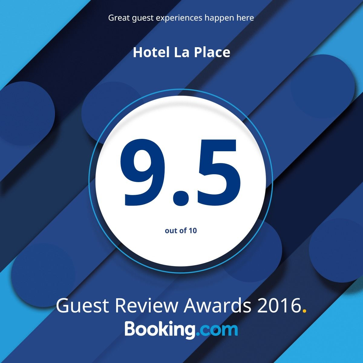 Booking.com, 9.5 out of 10 Awarded to Hotel La Place, Jersey