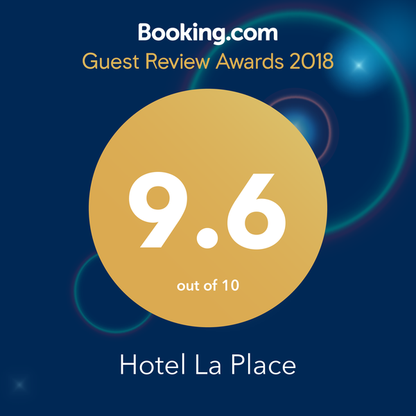 Booking.com, 9.6 out of 10 Awarded to Hotel La Place, Jersey